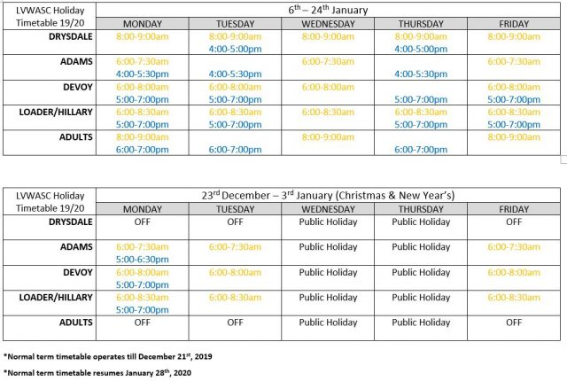 Holiday Timetable